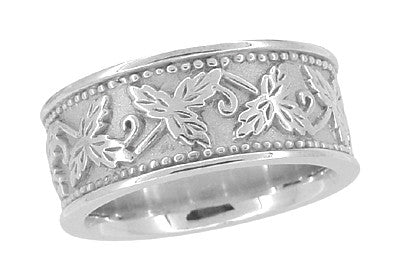 Grapes And Grape Leaves Heavy Wide Wedding Band In 14 Karat White Gold