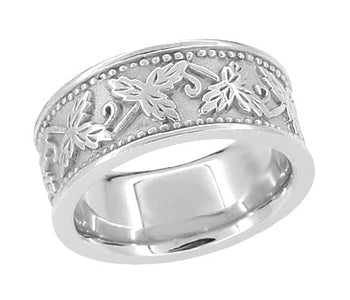 Grapes and Grape Leaves Heavy Wide Wedding Band in 14K White Gold - 8mm Wide
