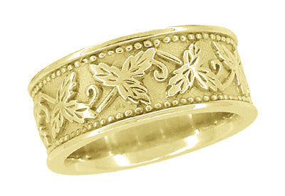 Grapes and Grape Leaves 8mm Wide Heavy Wedding Band in 14 Karat Yellow Gold - Item: R806Y - Image: 1