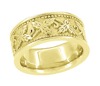 Grapes and Grape Leaves 8mm Wide Heavy Wedding Band in 14 Karat Yellow Gold