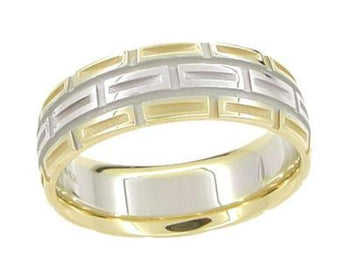 Mixed Metals Carved 1950's Design Geometric Comfortable Fit Wedding Band in Two-Tone 14 Karat White and Yellow Gold - 7mm Wide - Ring Size 9
