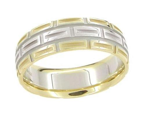 Carved 1950's Design Geometric Comfortable Fit Wedding Band in Two-Tone 14 Karat White and Yellow Gold - 7mm Wide - Ring Size 9