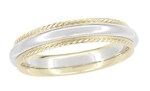4mm Wide Millgrain Two Tone Comfortable Fit Wedding Band in 14 Karat White and Yellow Gold