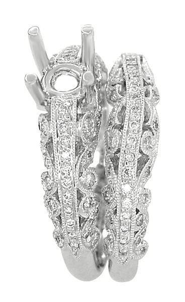 Borola 3/4 Carat Diamond Engagement Ring Setting and Wedding Ring in 18 Karat White Gold - Item: R811 - Image: 2