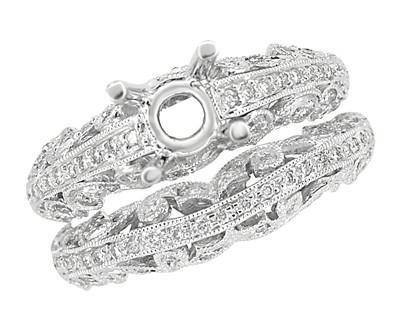 Borola 3/4 Carat Diamond Engagement Ring Setting and Wedding Ring in 18 Karat White Gold - Item: R811 - Image: 4