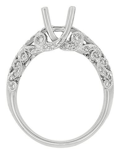 Borola 3/4 Carat Diamond Engagement Ring Setting and Wedding Ring in 18 Karat White Gold - Item: R811 - Image: 5