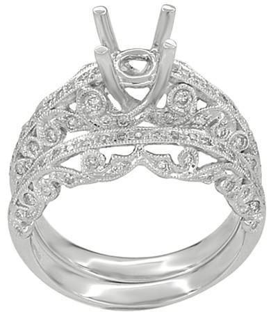 Borola 3/4 Carat Diamond Engagement Ring Setting and Wedding Ring in 18 Karat White Gold - Item: R811 - Image: 1