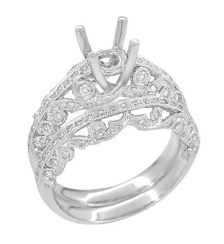 Borola 3/4 Carat Diamond Engagement Ring Setting and Wedding Ring in 18 Karat White Gold