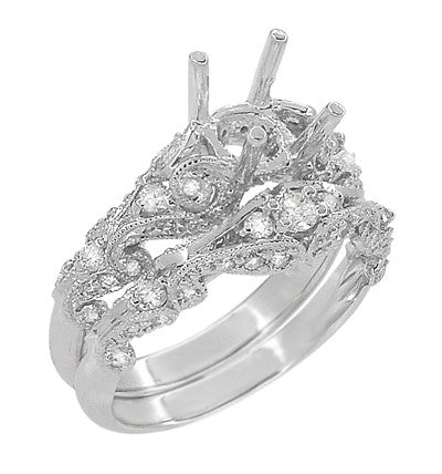 Annika Diamond Engagement Ring Setting and Wedding Ring in Platinum - Item: R812P - Image: 2