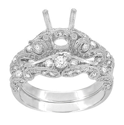 Annika Diamond Engagement Ring Setting and Wedding Ring in Platinum - Item: R812P - Image: 3