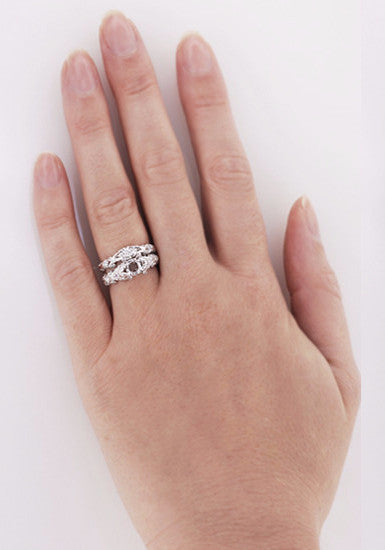 Annika Diamond Engagement Ring Setting and Wedding Ring in Platinum - Item: R812P - Image: 5