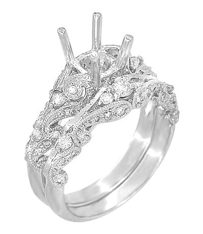 Annika Diamond Engagement Ring Setting and Wedding Ring in Platinum - Item: R812P - Image: 1