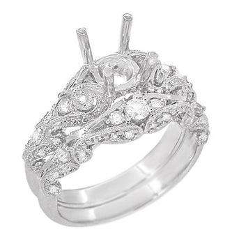 Annika Diamond Engagement Ring Setting and Wedding Ring in Platinum