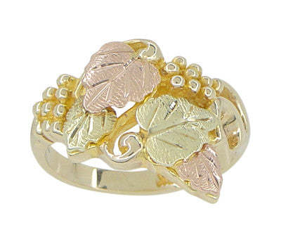 Black Hills Gold Leaves Ring in 10 Karat Green Pink and Yellow Gold - Item: R826 - Image: 1