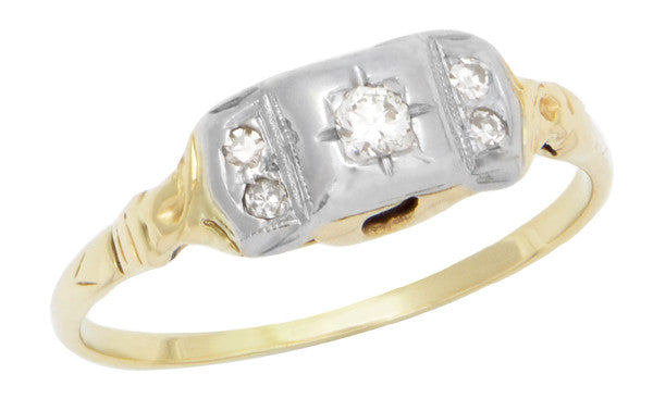 Art Deco Mixed Metals Addison Antique Engraved Diamond Engagement Ring in 14 Karat Two Tone Gold
