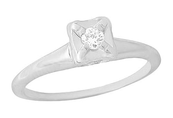 1950's ArtCarved Illusion Solitaire Vintage Engagement Ring in 14K White Gold | 0.07 Carat