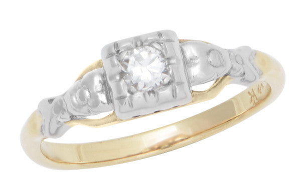 Art Deco Pansy Flowers Mixed Metals Vintage Diamond Engagement Ring in 14K Two Tone Gold