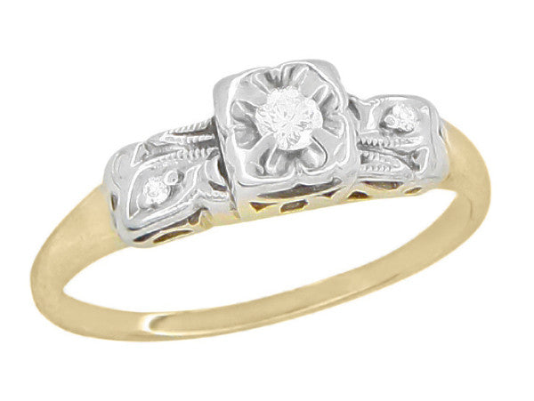1940's Vintage Pansy Flower Diamond Engagement Ring in Two Tone 14 Karat Yellow and White Gold - Item: R837 - Image: 1