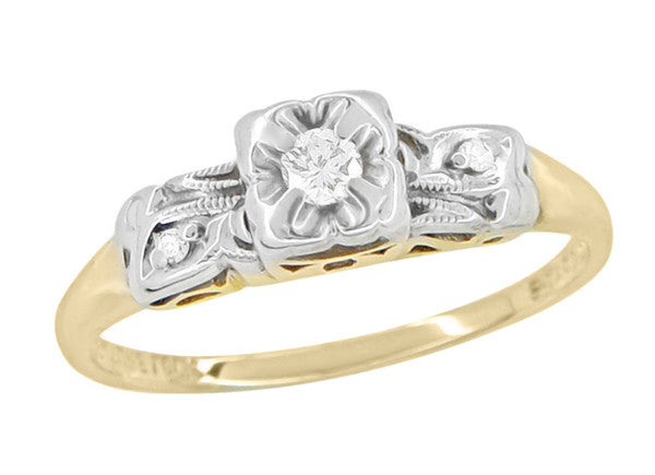 1940's Vintage Pansy Flower Diamond Engagement Ring in Two Tone 14 Karat Yellow and White Gold