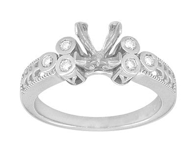 Eternal Stars 3/4 Carat Princess Cut Diamond Engraved Fleur De Lis Engagement Ring Mounting in 14 Karat White Gold - Item: R841 - Image: 2