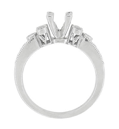 Eternal Stars 3/4 Carat Princess Cut Diamond Engraved Fleur De Lis Engagement Ring Mounting in 14 Karat White Gold - Item: R841 - Image: 6