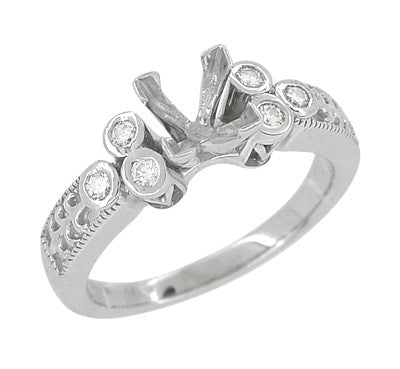 Eternal Stars 1 Carat Princess Cut Diamond Engraved Fleur De Lis Engagement Ring Setting in 14 Karat White Gold - Item: R8411 - Image: 1