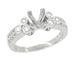 Art Deco Fleur De Lis Princess Cut 1 Carat Diamond Engagement Ring Setting in 14 Karat White Gold