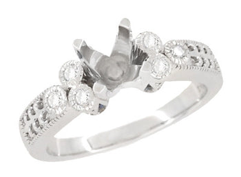 Vintage Engraved Fleur De Lis Design Engagement Ring Mounting for a 1 Carat Diamond in 14 Karat White Gold