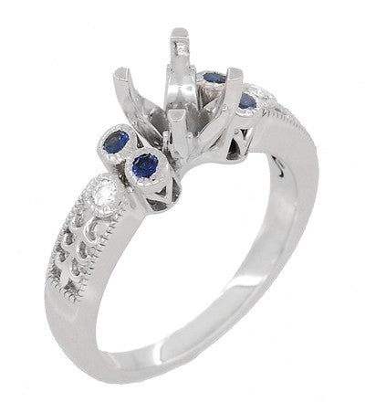 Eternal Stars 1 Carat Side Sapphires and Diamonds Engraved Fleur De Lis Engagement Ring Mounting in 14 Karat White Gold for a 6mm to 6.5mm Stone - Item: R8411RS - Image: 1