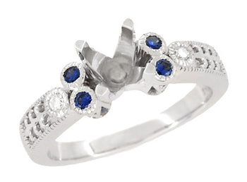 Eternal Stars 1 Carat Side Sapphires and Diamonds Engraved Fleur De Lis Engagement Ring Mounting in 14 Karat White Gold for a 6mm to 6.5mm Stone