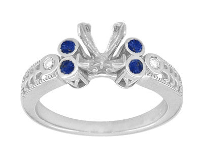 Vintage Fleur De Lis Carved Engagement Ring Mounting with Side Sapphires and Diamonds for a 1 Carat Square Diamond in White Gold - Item: R8411S - Image: 2