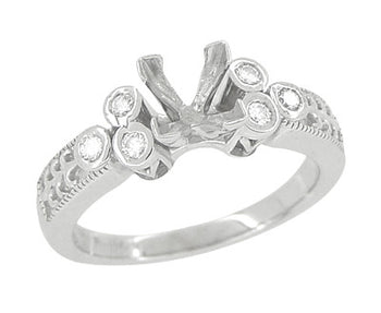 Fleur De Lis Eternal Stars Art Deco 3/4 Carat Princess Cut Diamond Engagement Ring Setting in White Gold