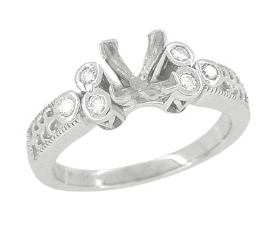 Eternal Stars 3/4 Carat Princess Cut Diamond Engraved Fleur De Lis Engagement Ring Mounting in 14 Karat White Gold