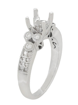 Art Deco 3/4 Carat Diamond Engraved Fleur De Lis Engagement Ring Mounting in 14 Karat White Gold