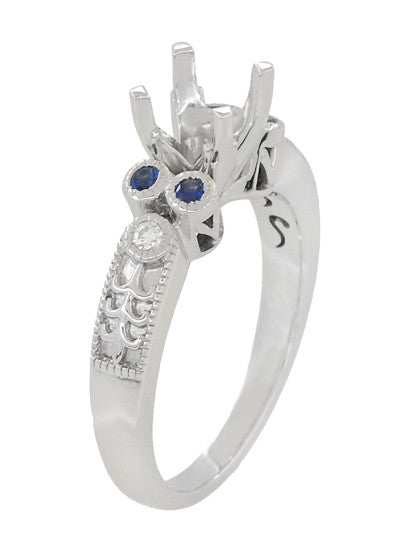 Antique Style 3/4 Carat Diamond and Sapphire Heirloom Engraved Fleur De Lis Engagement Ring Mounting in 14 Karat White Gold - Item: R841RS - Image: 2