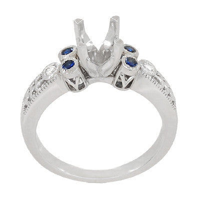 Antique Style 3/4 Carat Diamond and Sapphire Heirloom Engraved Fleur De Lis Engagement Ring Mounting in 14 Karat White Gold - Item: R841RS - Image: 3