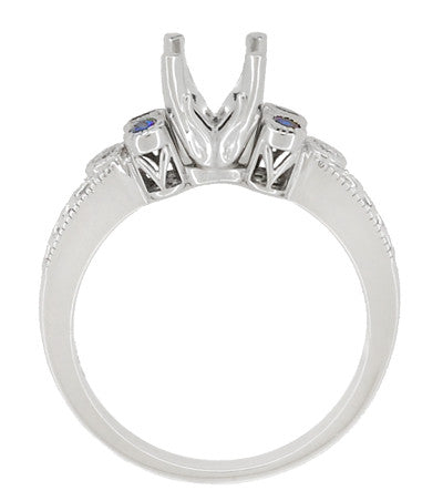 Antique Style 3/4 Carat Diamond and Sapphire Heirloom Engraved Fleur De Lis Engagement Ring Mounting in 14 Karat White Gold - Item: R841RS - Image: 4