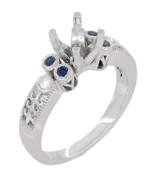 Antique Style 3/4 Carat Diamond and Sapphire Heirloom Engraved Fleur De Lis Engagement Ring Mounting in 14 Karat White Gold