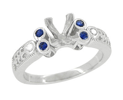 Eternal Stars Sapphire Side Stones Engraved Fleur De Lis Engagement Ring Mounting for a 3/4 Carat Princess Cut Diamond  in 14 Karat White Gold