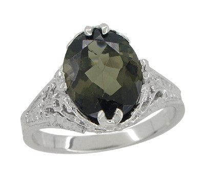2.32 Carat Edwardian Filigree Leaves Oval Green Tourmaline Ring in 14K White Gold - Item: R843GT - Image: 2