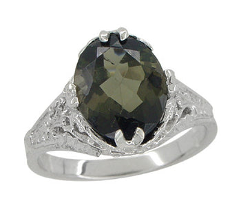 2.32 Carat Edwardian Filigree Leaves Oval Green Tourmaline Ring in 14K White Gold
