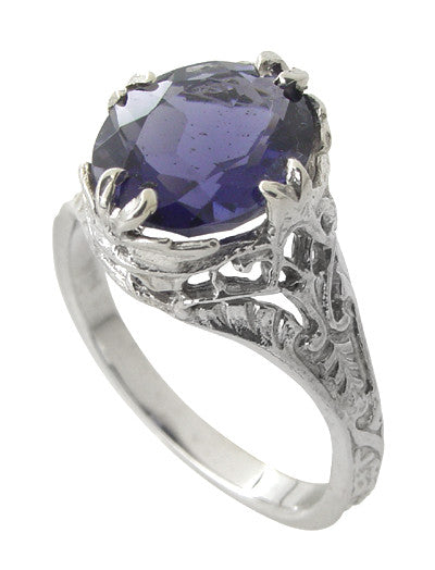 Edwardian Filigree 2 Carat Oval Violet Iolite Ring in 14 Karat White Gold - Item: R843i - Image: 1