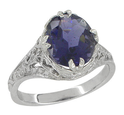 Edwardian Filigree 2 Carat Oval Violet Iolite Ring in 14 Karat White Gold