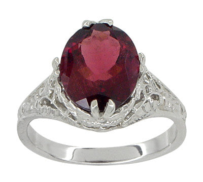 Edwardian Filigree Leaves Oval Rubellite Tourmaline Ring in 14 Karat White Gold - Item: R843RT - Image: 1