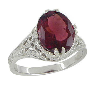 Edwardian Filigree Leaves Oval Rubellite Tourmaline Ring in 14 Karat White Gold