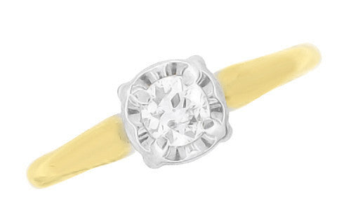 Vintage 1950's Solitaire Old European Cut Diamond Engagement Ring in Two Tone White and Yellow 14K Gold - Item: R844 - Image: 1