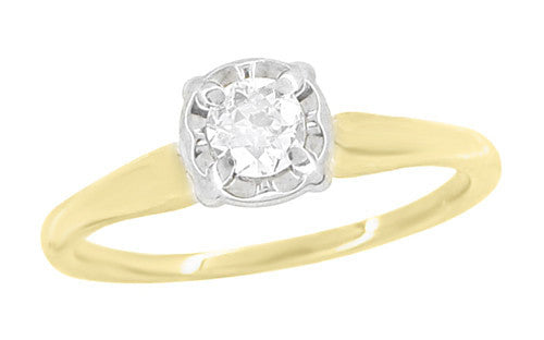 Vintage 1950's Solitaire Old European Cut Diamond Engagement Ring in Two Tone White and Yellow 14K Gold