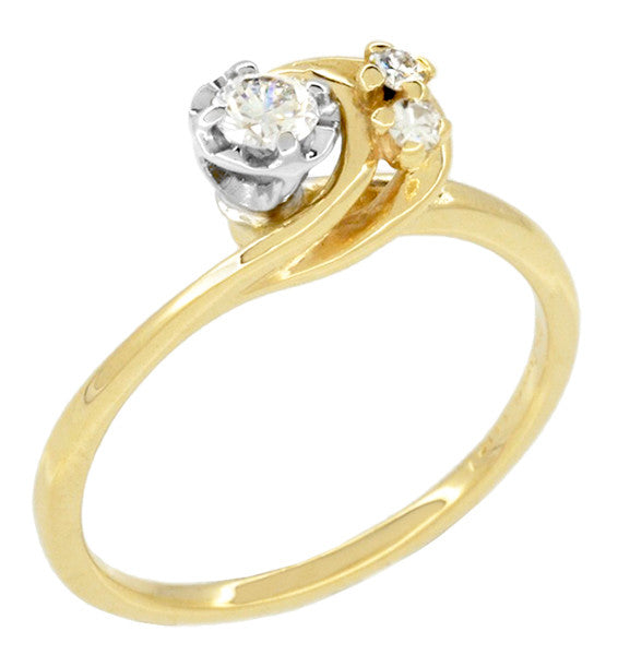 moon and stars bypass vintage diamond engagement ring in 14 karat yellow gold item - Vintage Diamond Wedding Rings
