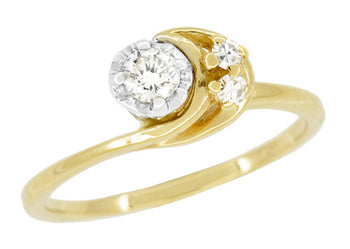 Moon and Stars Bypass Vintage Diamond Engagement Ring in 14 Karat Yellow Gold