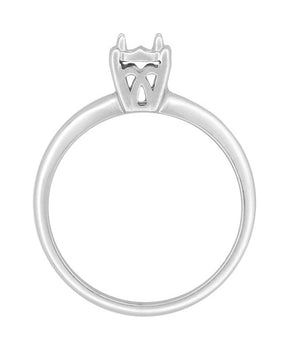 Vintage Style 1950's Illusion Solitaire Ring Setting in 14 Karat White Gold for a 0.25, 0.33, 0.50, 0.64 Carat Diamond
